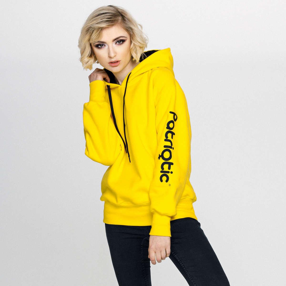 bluza damska z kapturem żółta